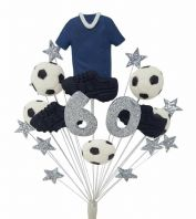 Football 60th birthday cake topper decoration blue shirt - free postage